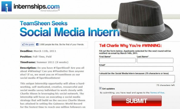 Anuncio en Internships.com