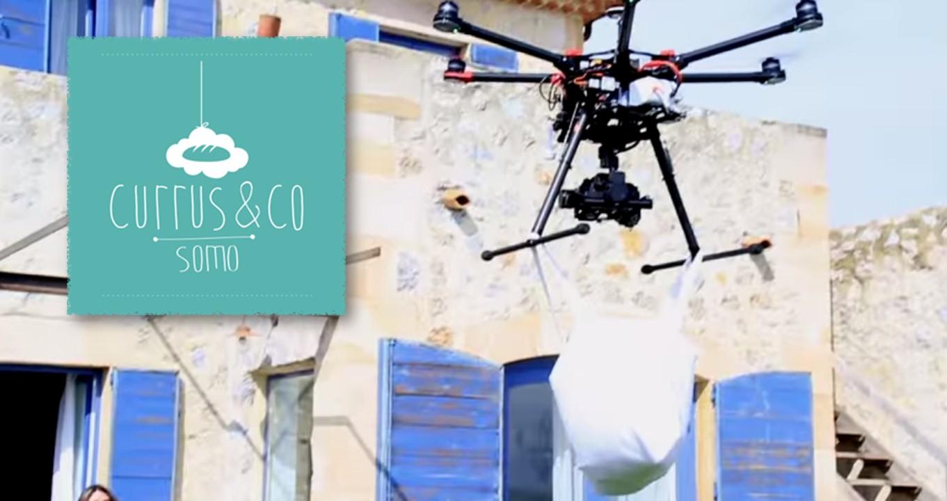 Reparto de pan con drones
