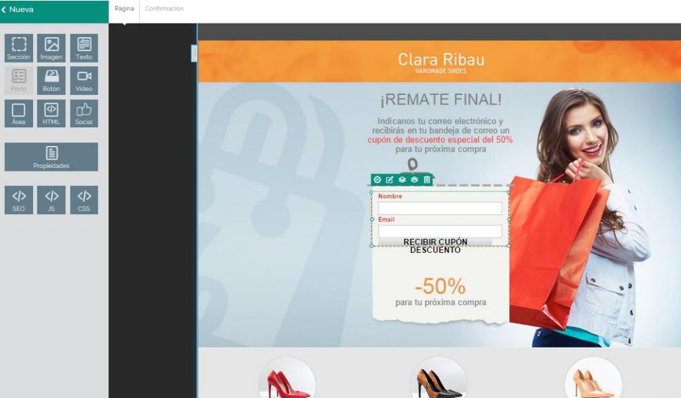 Creador Landing Pages MDirector